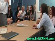 CFNM guy strips for group of British girls in office