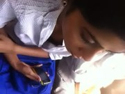 Indian babe Bigtits show in a public bus