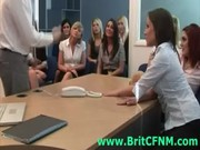 Group of office CFNM babes see man strip