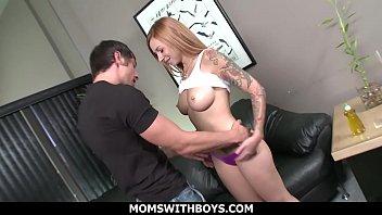 blonde mistress joking with her sexy boy